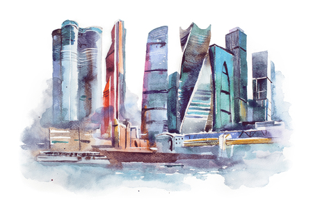 picturesque: watercolor drawing of Moscow city. International Business Center aquarelle painting