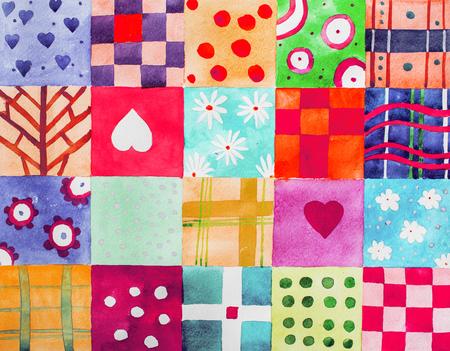 パッチワーク パターン。カラフルなセット印刷パターン水彩図面