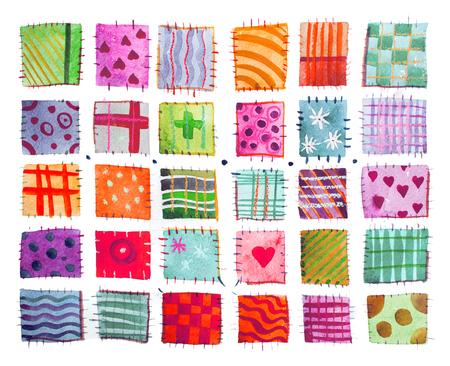 フラワー プリント、パッチワーク、一連のカラフルな印刷パターン水彩図面