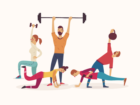Group of athletes working with weights and kettlebells lifting barbells Illustration