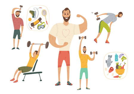 People workout with sports equipments, exercises with dumbbells healthy lifestyle and proper nutrition. Illustration