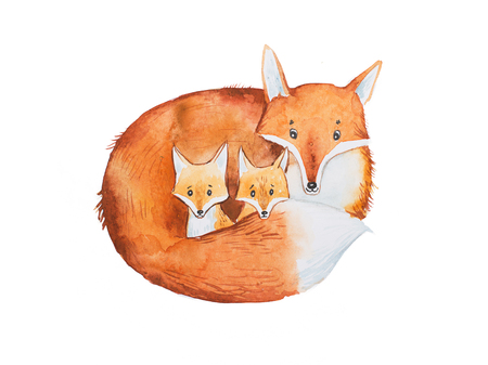 two child: Drawing of cute fox family, mother and two fox-cubs Stock Photo