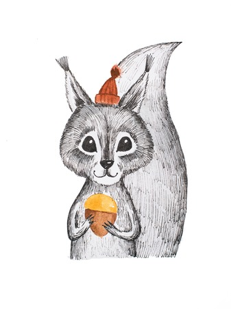 Hand-drawn portret van leuke zwart-witte eekhoorn die een kleine rode hoed draagt en eikel houdt