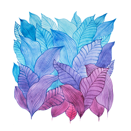 illustration and cool: Aquarelle illustration of overlapping leaves drawn with cool color combination
