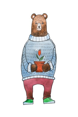Watercolor illustration for children of cartoon brown bear wearing warm sweater holding a flowerpot with a flower