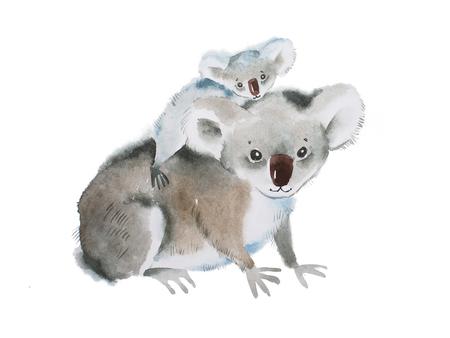 다시 아기와 코알라 곰의 세공 그림 스톡 콘텐츠