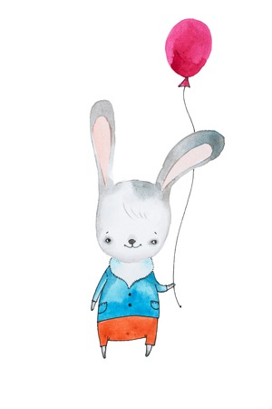 Hand-drawn cartoon bunny rabbit in pants and shirt with balloon isolated on white background