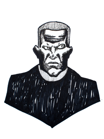 Pen-and-ink portrait of brutal man looking aggressive and threatening drawn on white paper