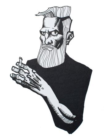 흰 종이에 그려진 공격적이며 협박하는 잔인한 남자의 펜 및 잉크 초상화 스톡 콘텐츠