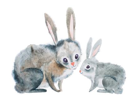 母ウサギと aquarelle 手法で手描きの赤ちゃん
