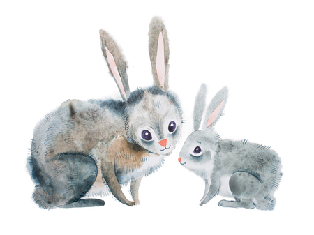 Mother rabbit and baby hand-drawn with aquarelle technique