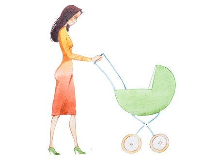 Cartoon illustration of beautiful young mother walking with a stroller