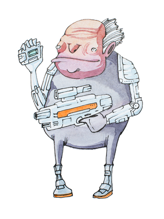 Hand-drawn illustration of short decrepit-looking old man in futuristic costume holding a weapon and electronic gadget Stock Photo