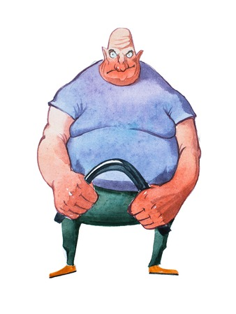 Caricature portrait of a big fat bald strongman bending metal bar hand-drawn with watercolors