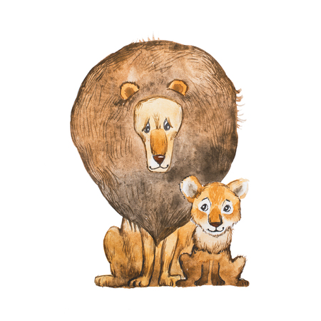 Watercolor illustration of lion and the cub sitting together looking at each other. Idea for father s day card. Stock Photo