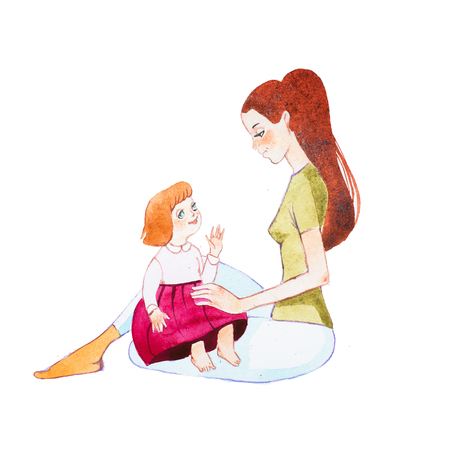 무릎에 그녀의 유아 딸을 잡고 바닥에 앉아있는 젊은 어머니 스톡 콘텐츠