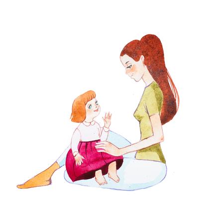 Giovane madre seduta sul pavimento con la figlia del bambino sui giri Archivio Fotografico - 80694321