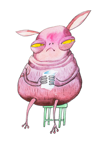 Pink cartoon monster with yellow eyes and long ears looking suspicious sitting on chair holding a cup Banco de Imagens