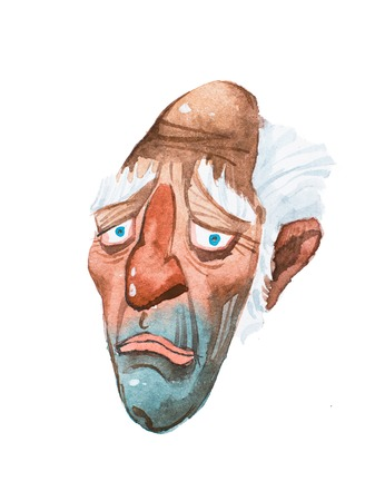 Caricature of sad old man s long face hand-drawn with watercolors