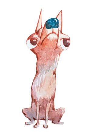 Watercolor illustration of small dog turning away looking up with offended look