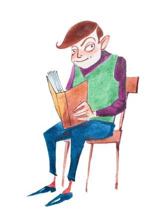 手描き aquarelle 塗料で椅子に座って本を読んでスマートの若い男 写真素材