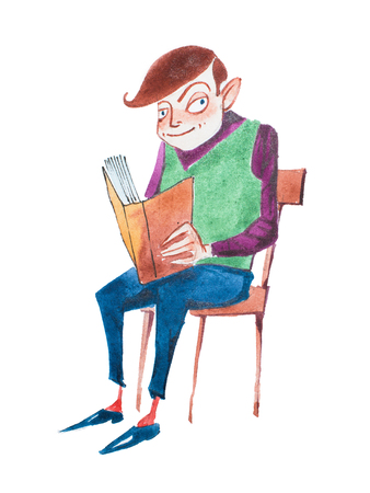 Smart young man reading a book sitting on a chair hand-drawn with aquarelle paints