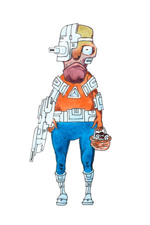 Illustration drôle de cyborg mâle futuriste avec des parties électroniques du corps tenant un panier de champignons Banque d'images - 80694328