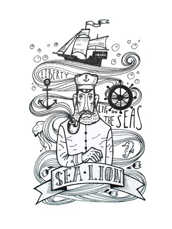 Black and white drawing of captain smoking a pipe with sea symbols behind his back Stock Photo