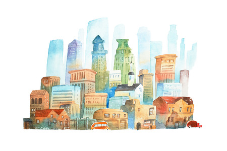Watercolor painting of big modern city  New York hand drawn on white background Фото со стока