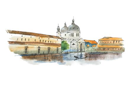 Waterverfschets van Venetië, Italiaanse stad, met witte kathedraal, historische huizen en een gondelier.