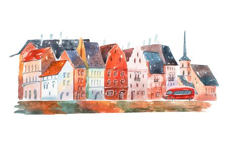 Waterverf het schilderen van vreedzame straat in Holland met huizen typische Europese architectuur Stockfoto