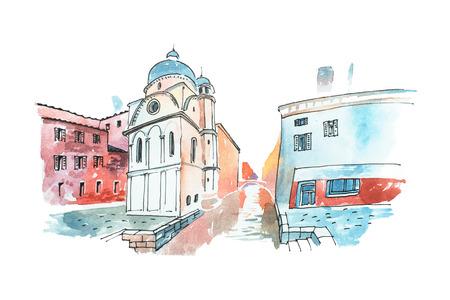 Acuarela boceto de una calle en Venecia en Italia con la iglesia blanca y las casas antiguas Foto de archivo - 80621437