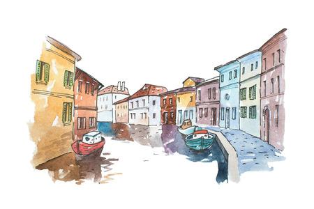 Waterverf foto van typisch landschap Venetië met boten geparkeerd naast gebouwen in een water kanaal, Italië. Stockfoto