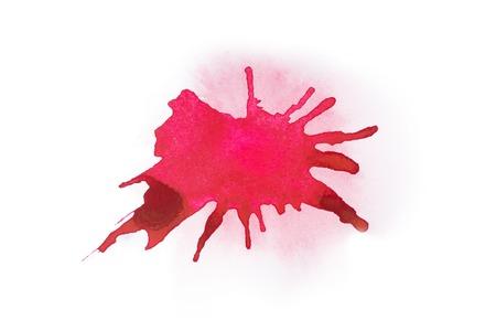 抽象的な水彩 aquarelle 手描かれたカラフルな図形アート赤い色塗料や血液スプラッタ汚れ
