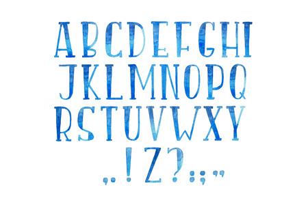 Colorful watercolor aquarelle font type handwritten hand draw abc alphabet letters Stok Fotoğraf
