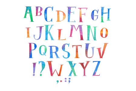 Colorful watercolor aquarelle font type handwritten hand draw abc alphabet letters Stock Photo