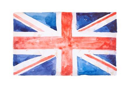 영국 국기. 영국. 수채화 손으로 그려진 된 그림입니다. 스톡 콘텐츠