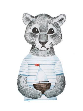 Volledig gezicht portret van schattige panther baby draagt gestreepte t-shirt met een speelgoed schip handgetekend met potlood en aquarellen Stockfoto