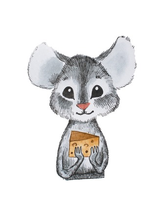 Cute little mouse holding cheese with both hands hand-drawn