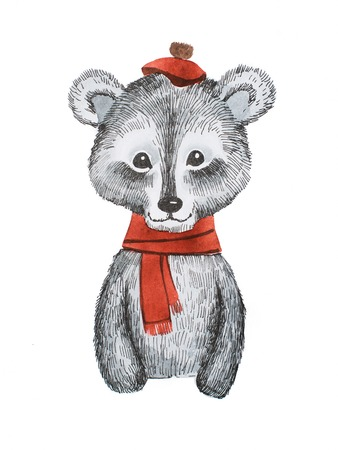 Adorable cartoon bear wearing red scarf and cap Stock Photo