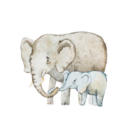 Watercolor drawing of elephant family, mother and calf Stok Fotoğraf - 82237167