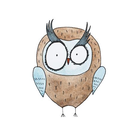 Cartoon owl hand drawn Watercolor aquarelle illustration Stock Photo
