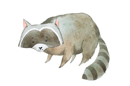 Cute raccoon watercolor technique. Hand drawn cartoon character