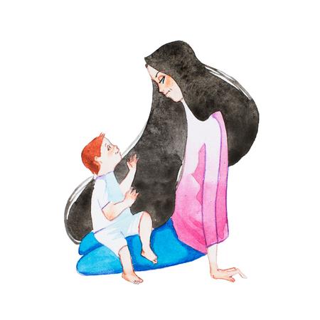 무릎에 그녀의 아들을 잡고 바닥에 앉아있는 젊은 어머니