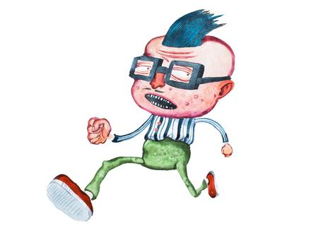 大きな頭と逆毛の髪型誰かから逃げている正方形のガラスのスタイリッシュな中年漫画男