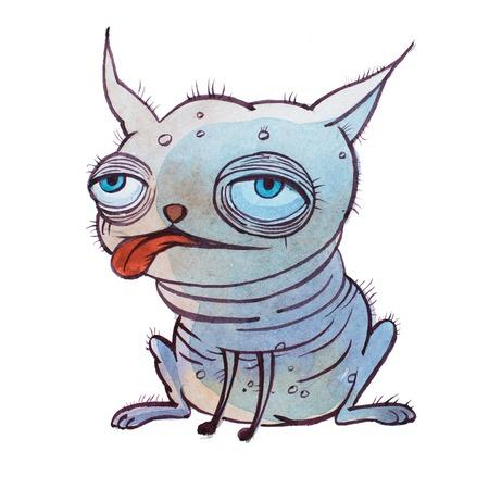 大きな腫れぼったい目で小さな醜いハゲ漫画犬をかなり遠く離れて手描き水彩絵の具で設定。