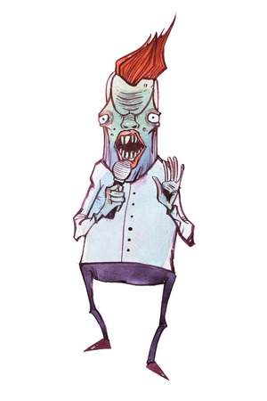 Colored illustration of humanlike cartoon monster who looks like a TV host speaking into the microphone