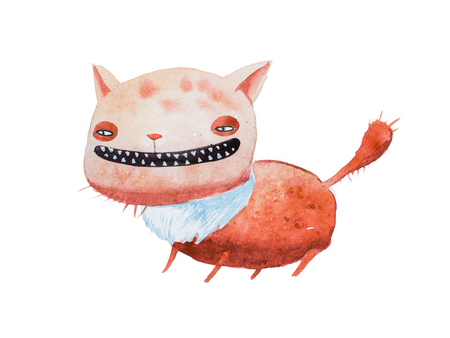 Watercolor drawing of cartoon cunning ginger cat grinning baring his small sharp teeth. Comic character drawn in unique artistic style