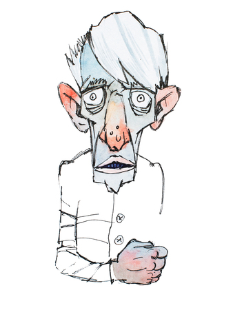 Colored sketch of skinny scary old man