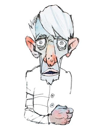 Gekleurde schets van schinnige enge oude man Stockfoto - 82237203